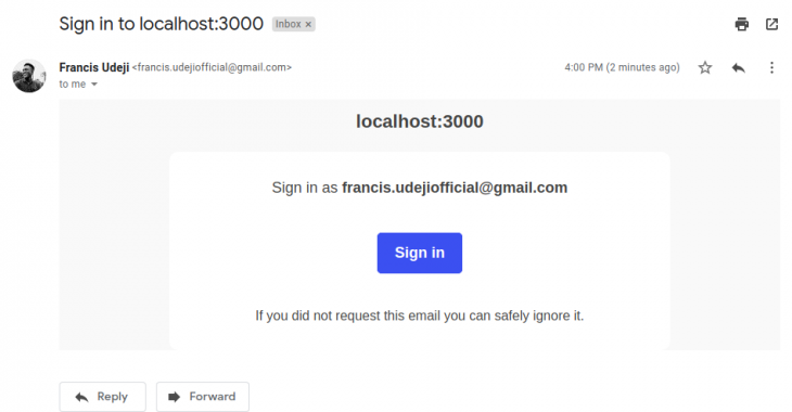 Authentication verification sign-in email