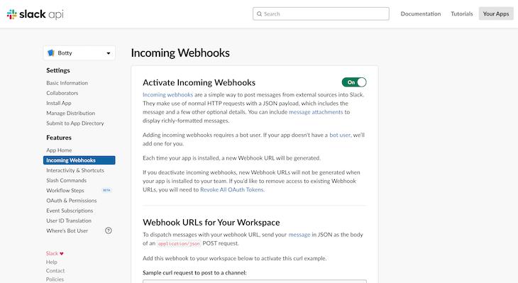 Configuring Webhooks in Slack