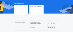The page to create a project in Firebase.