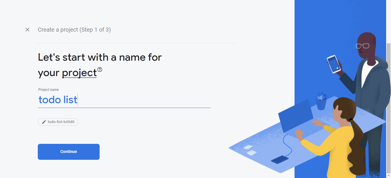 Create a new project in firebase