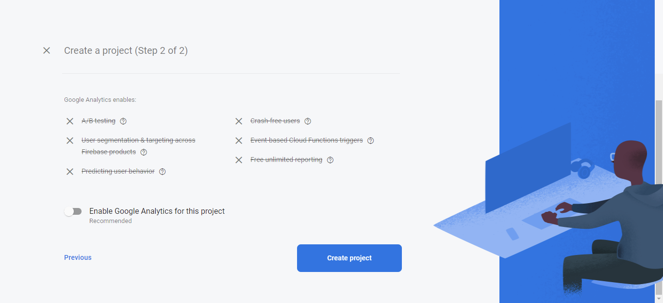 Create project button in firebase