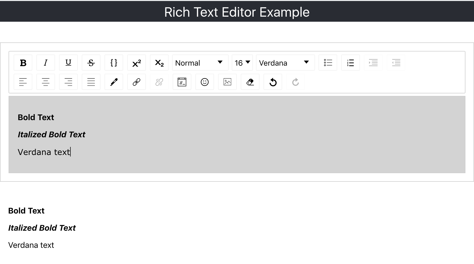 Displaying formatted text