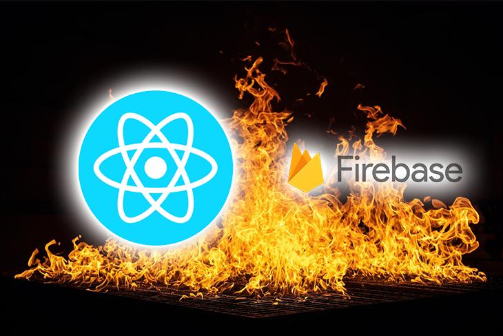 Firebase and React logos.