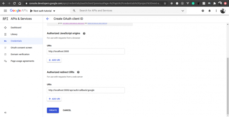google developer search console form fill