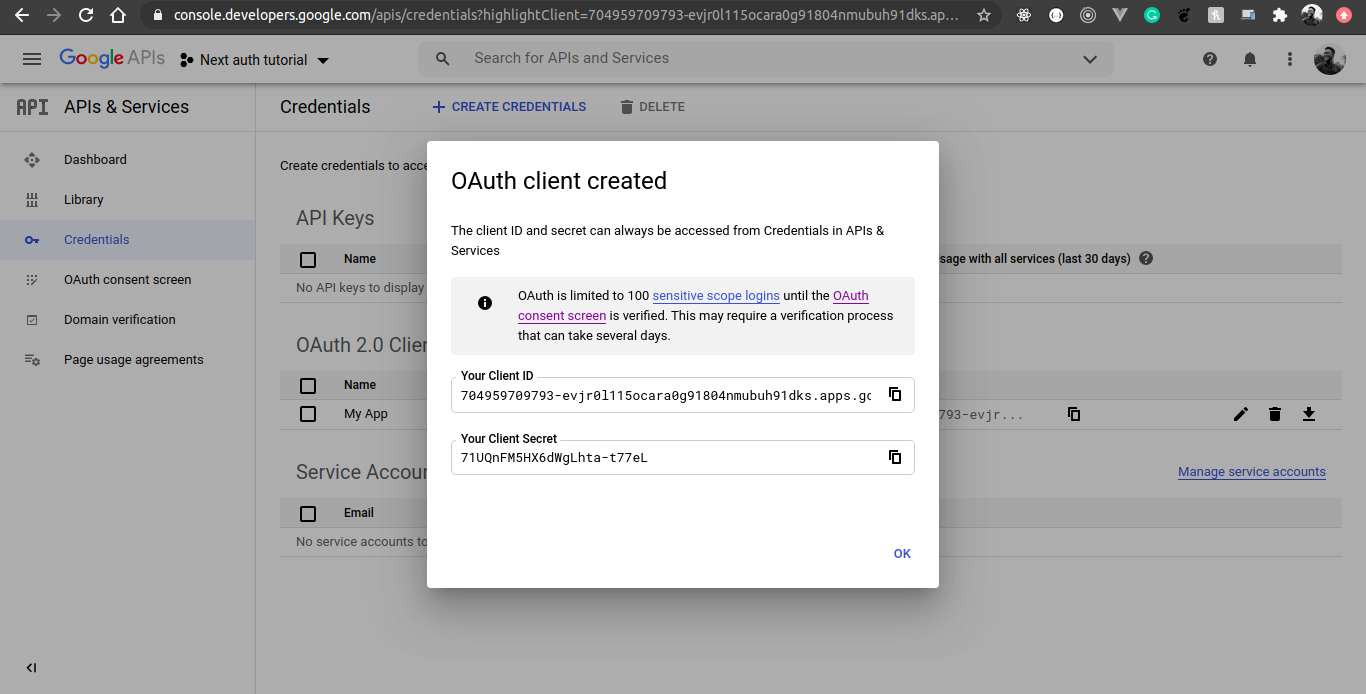 google developer console oauth credentials