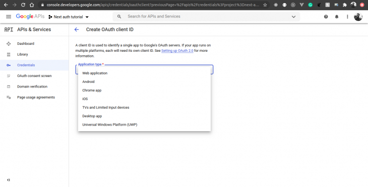 google developer search console oauth web application type