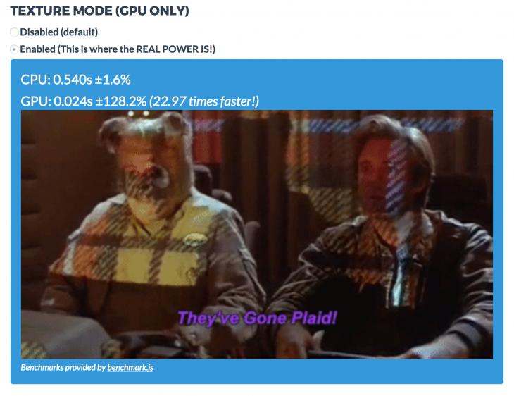 GPU.js Texture Mode