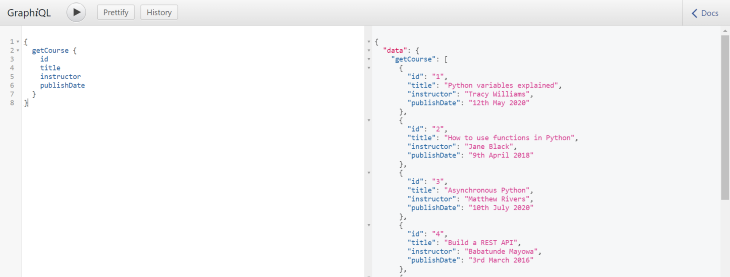 The GraphQL Server Page Response