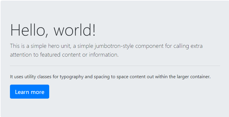 Jumbotron example from the Bootstrap official website.