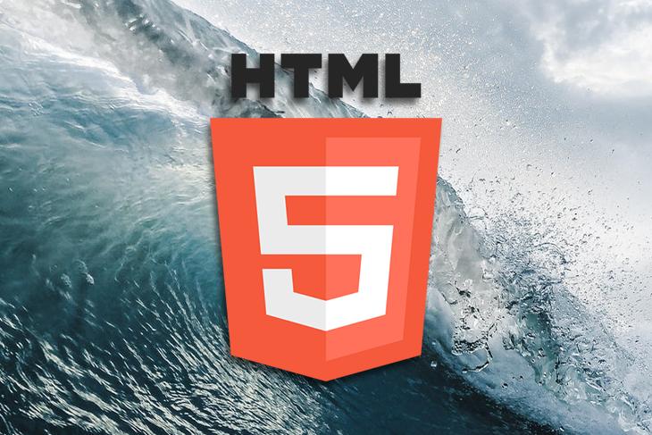 HTML logo over an ocean background.