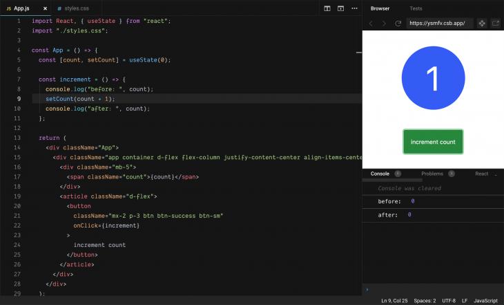 increment counter in code sandbox