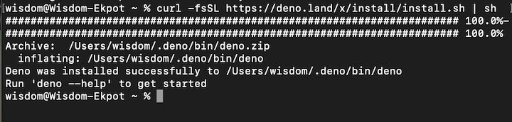 Output After Successful Installation of Deno on Mac