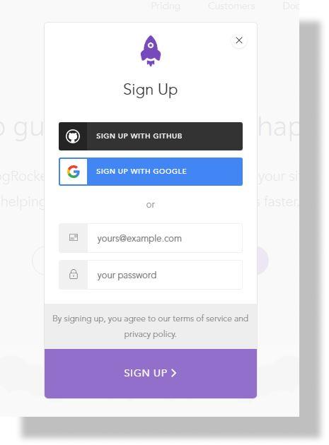LogRocket sign up page.