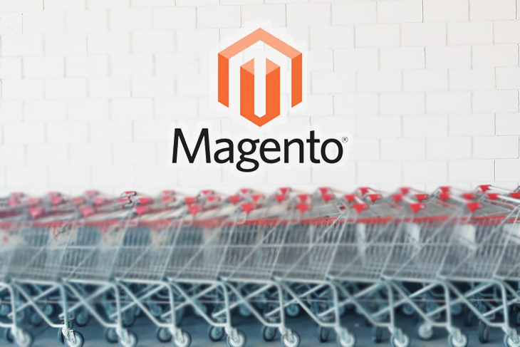 The Magento logo against a graphic of shopping carts.