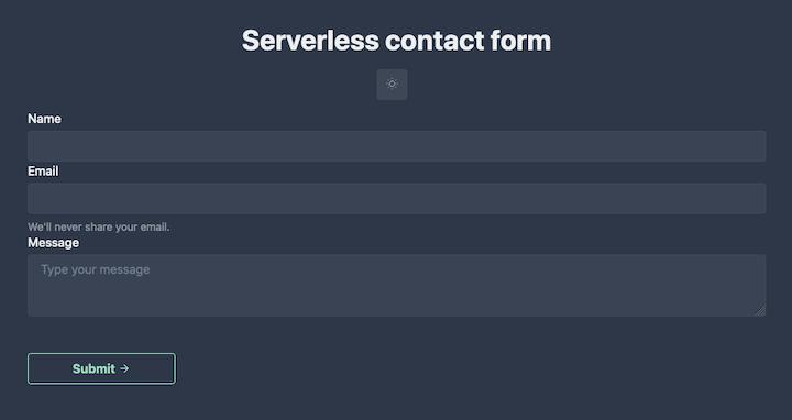 Nuxt.js Serverless Contact Form
