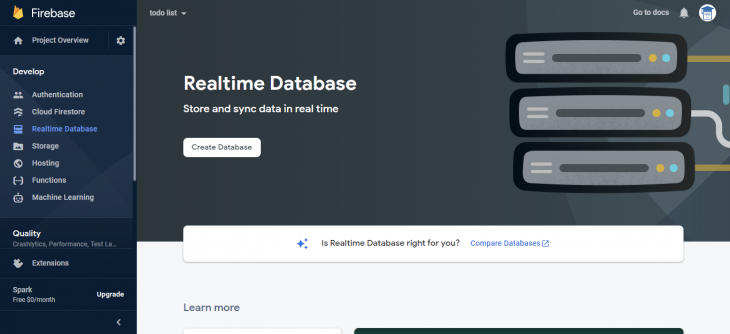 Realtime database page