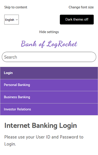 The mobile layout of our login page.