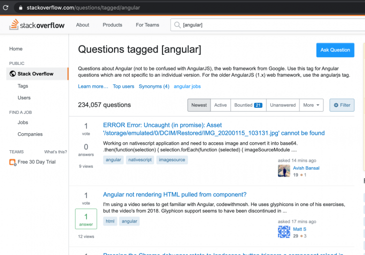Questions tagged Angular in StackOverflow