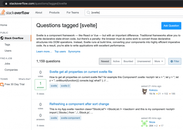 Questions tagged with Svelte in StackOverflow