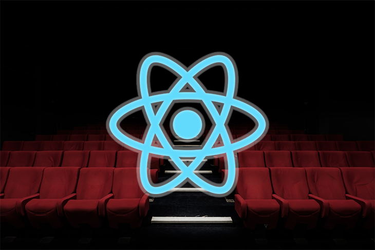 React logo above an image of a movie theatre.