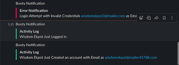 Slack Messages Indicating Application Activity