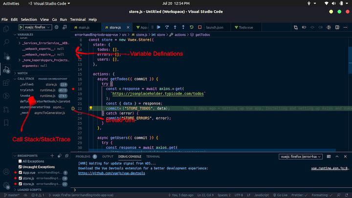 Debugging Data in VS Code