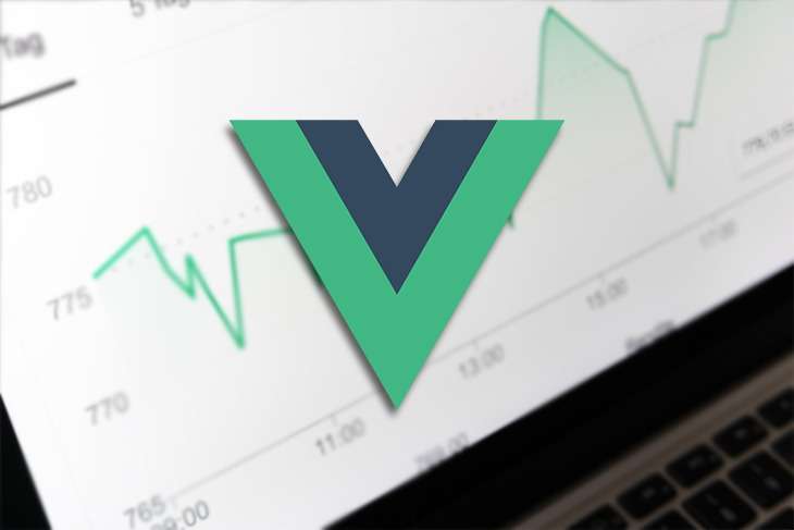 The Vue logo over a picture of a chart.