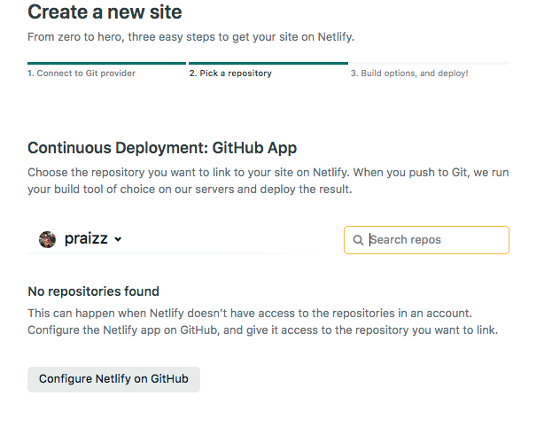 The page giving us the option to configure Netlify on Github.