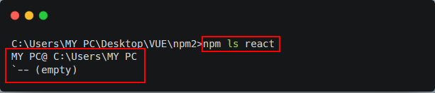 An example of running an NPM CLI command in our terminal.