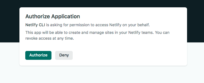 The page prompting us to authorize our application using the Netlify CLI.