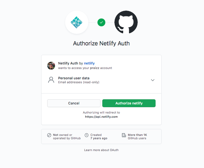 A screenshot of the page for authorizing Netlify Auth with Github.