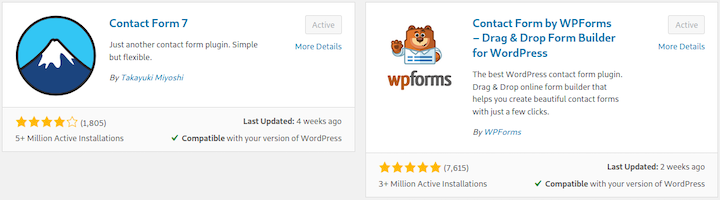 Contact Form 7 and WPForms