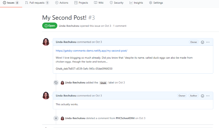 Example of Deleting Comment on GitHub Issue