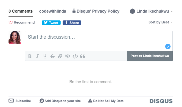 Example of Disqus Comments Activated