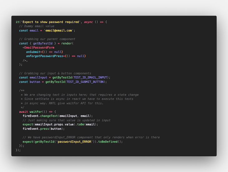 Code for the Email Form Component Test