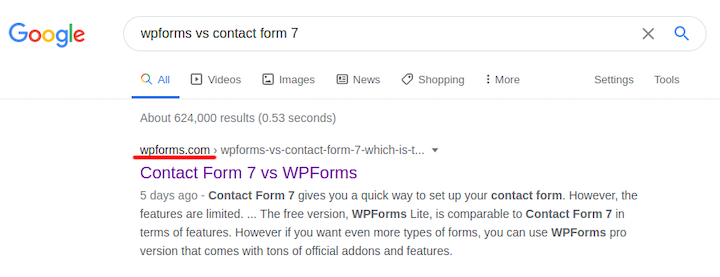 Google SERP: WPForms vs. Contact Form 7