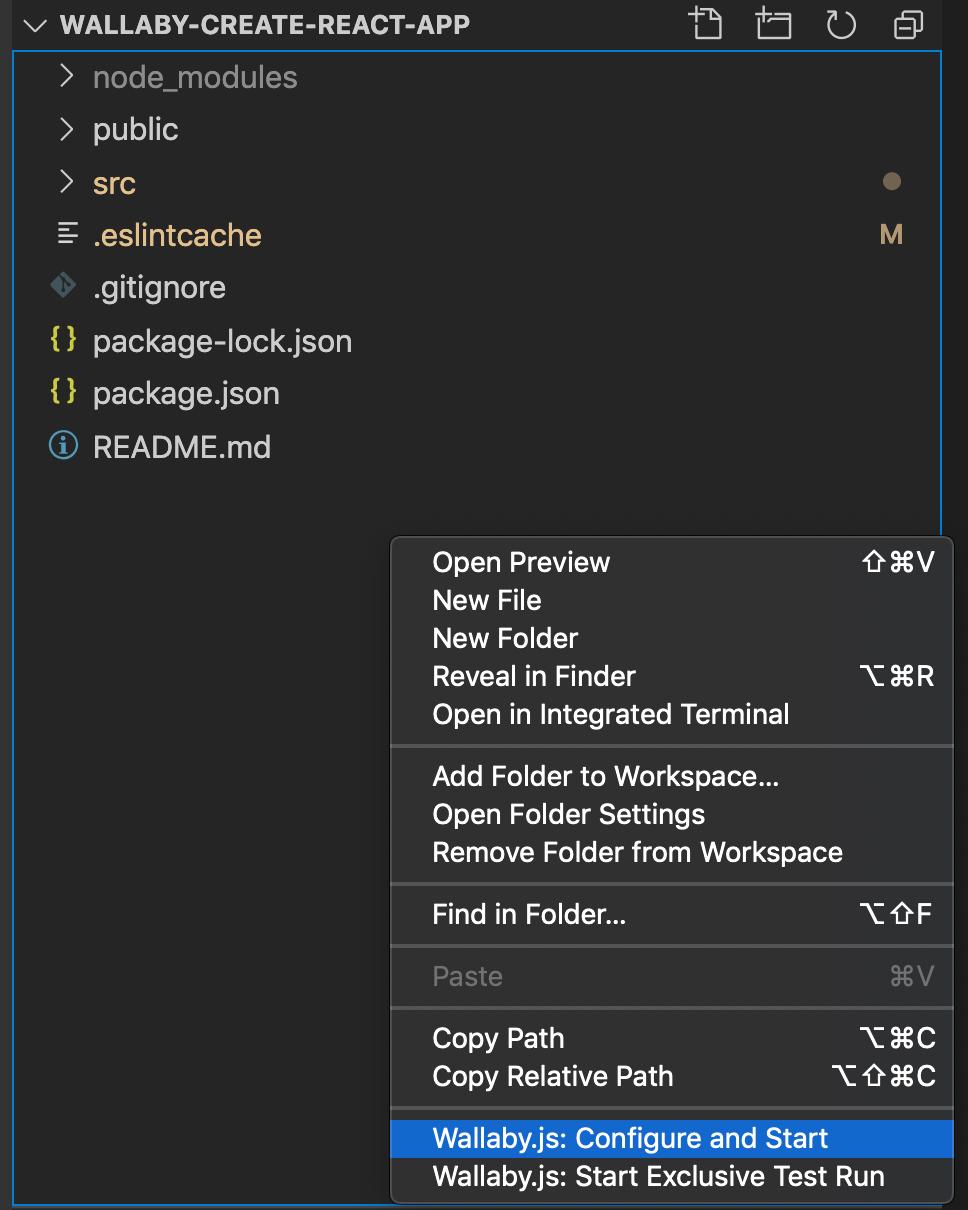 Wallaby.js options VSCode context menu