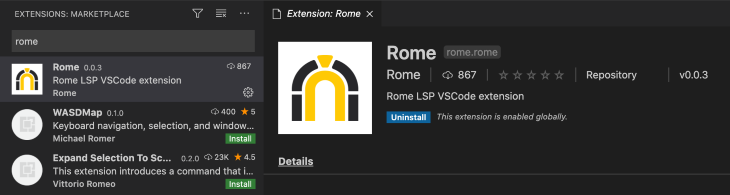 A Screenshot of Installing the Rome Extension
