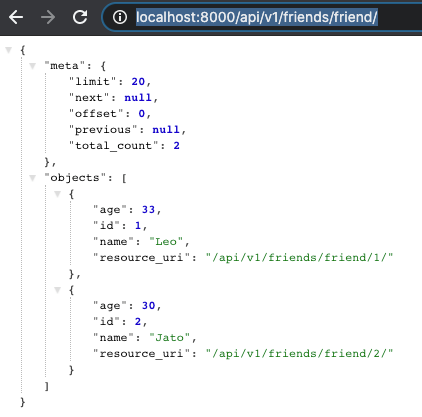 JSON Response in the API