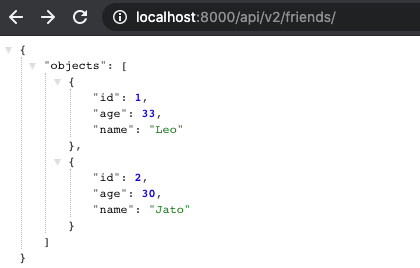 Preview of the JSON Response