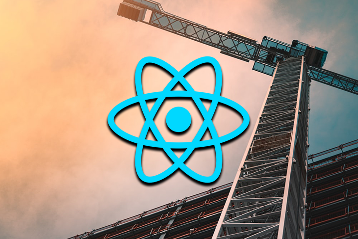 React logo against a construction background.