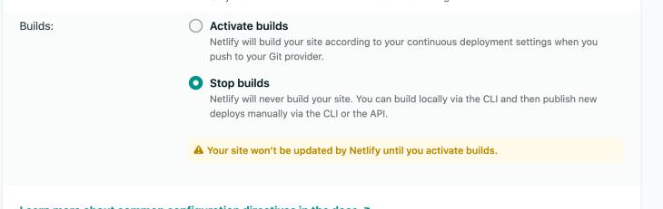 Screenshot Showing Stop Builds Checkbox