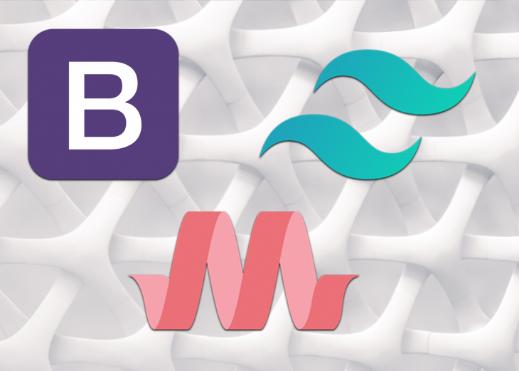 Bootstrap, Tailwind, and Materialize logos.