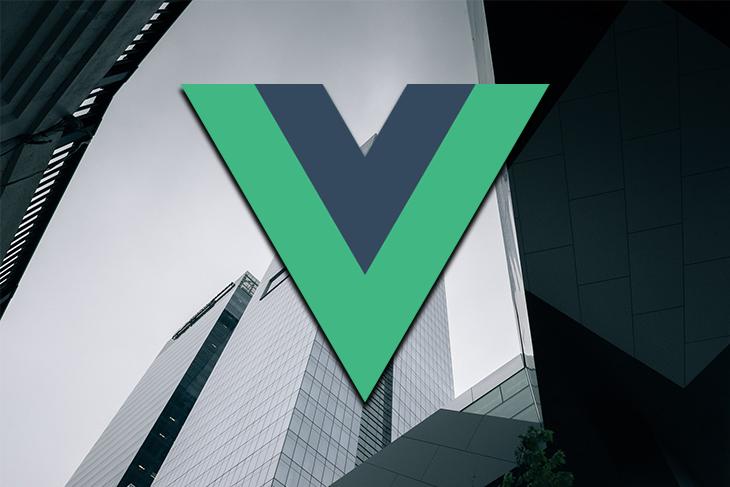 The Vue logo over a city skyline.