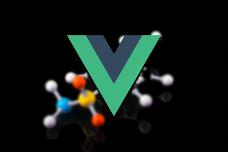 The Vue logo above a background of atoms.