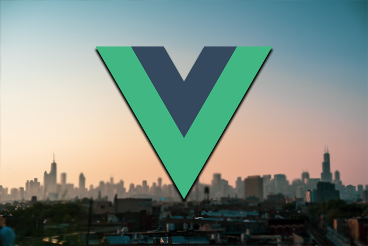 The Vue logo against a background of a skyline.