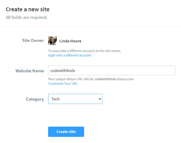 Screenshot of Website Name Field