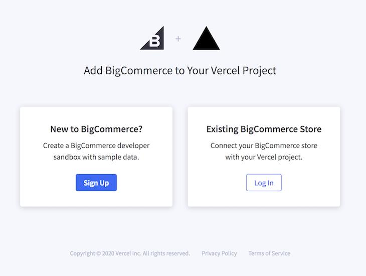 Install BigCommerce to Vercel