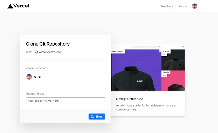 Next.JS Commerce Account