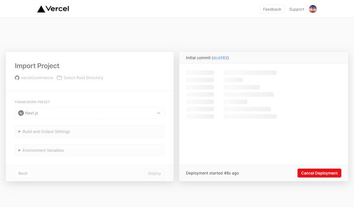 Next.js Import Project Deployment